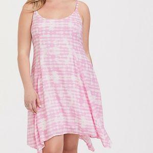 NWT TORRID Pink Tie Dye Challis Handkerchief Dress